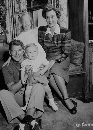 Ronald Reagan at home with first wife Jane Wyman and their two children C. 1946