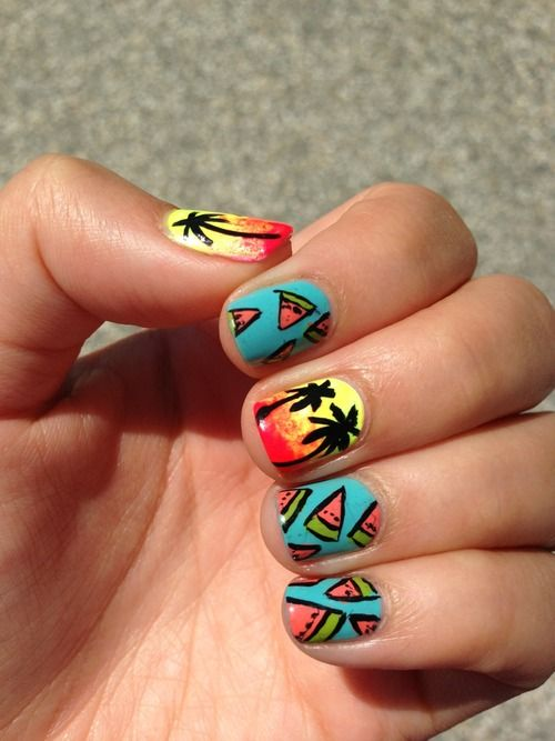 Summer Solstice manicure inspiration: watermelon and palm tree nail art!