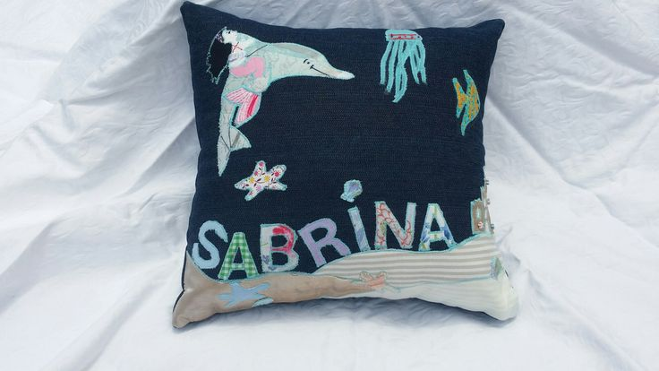 Mermaid themed personalised applique throw pillow