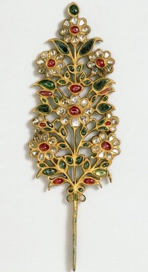 Turban ornament, India or Pakistan, early 18th century, set with rubies, emeralds, pale beryls and diamonds. Museum no. IM.240-1923 #mughal #motif #jewelry