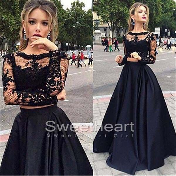 Black lace round neck two pieces ball gown long prom dress for teens, unique black long sleeve evening dress 2016