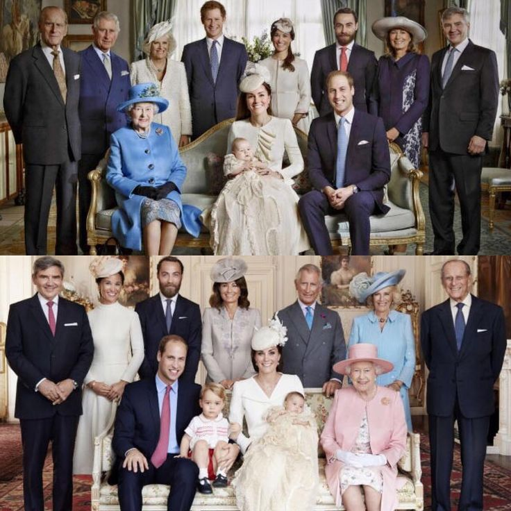 October 23, 2013 (top) Prince George's christening and July 5, 2015 (bottom) Princess Charlotte's christening