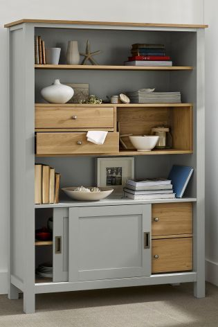 Dimensions: H186 x W118.8 x D45 cm.  Material: Grey paint effect with oak effect tops.  Assembly: Self assembly.  Additional Information: With 2 drawers and 2 adjustable shelves. Buy Stanton® Grey Display Cabinet online today at Next: Rep. of Ireland