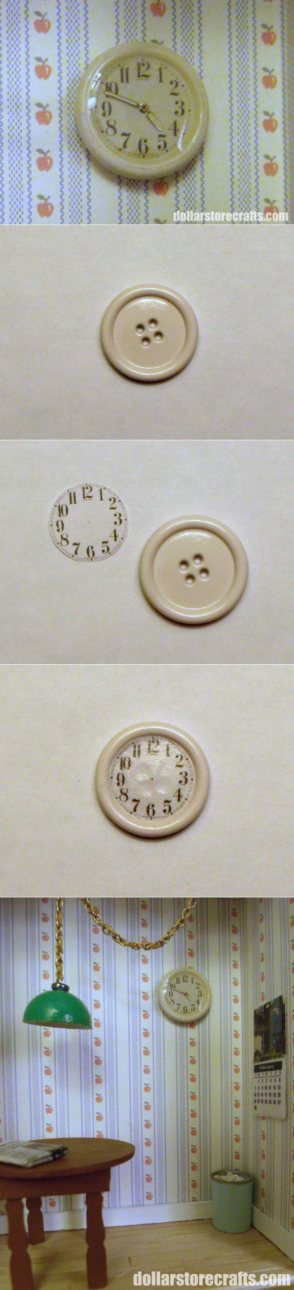 Настенные часы в кукольный дом Button into Clock