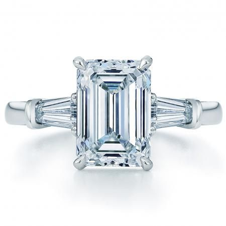 Emerald Cut Engagement Ring with Tapered Baguettes: Kwiat