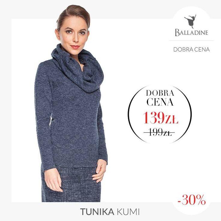W zimne dni nic nie otuli Cię lepiej, niż tunika z dużym wykładanym kołnierzem:  Tunika Kumi | http://goo.gl/0mNadN