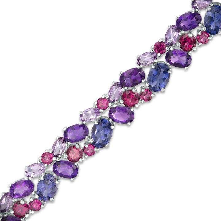 Zales Multi Gemstone Double Row Bracelet In Sterling Silver 7 25