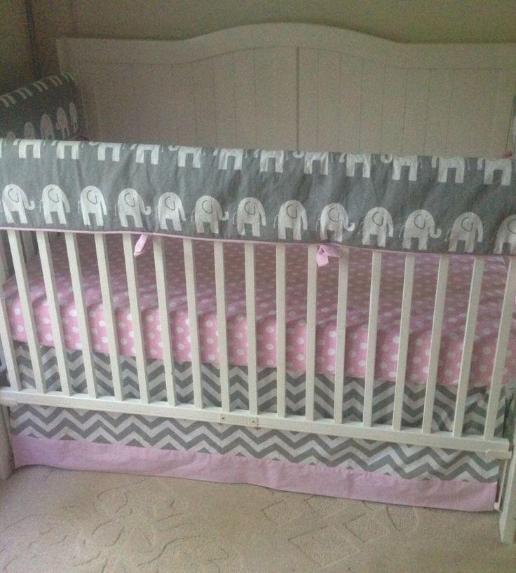 baby girl crib bedding set light pink and gray elephants bumperless
