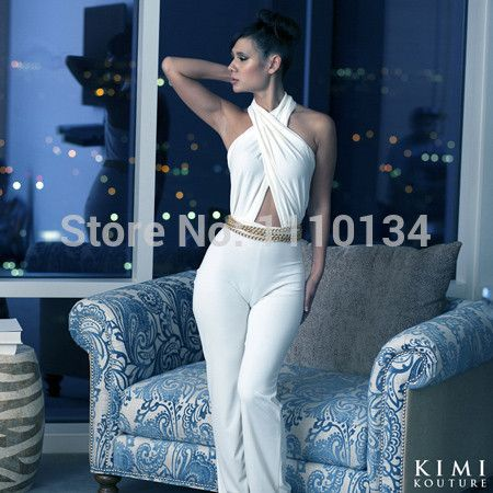 nieuwe mode zomer bandage jumpsuit vrouwen sexy backless witte club party bodycon jumpsuits plus maat SML 0571 $18,43 (free shipping)