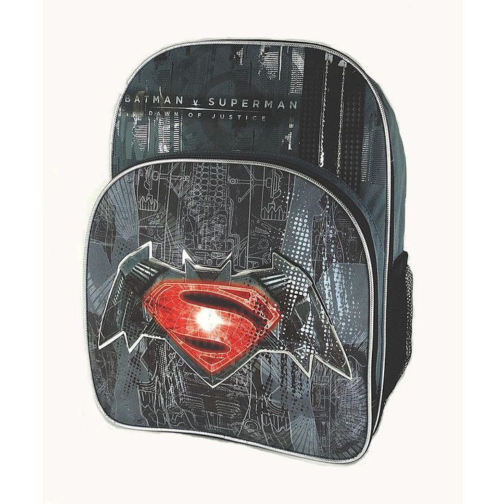 Batman v Superman Backpack School Bag Tote NEW 16 inches #WarnerBros #BackpackwithLunchKit