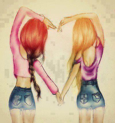 amiche, amigas, amore, colorful