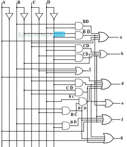 BCD to 7 Segment LED Display Decoder Circuit Diagram and Working ...