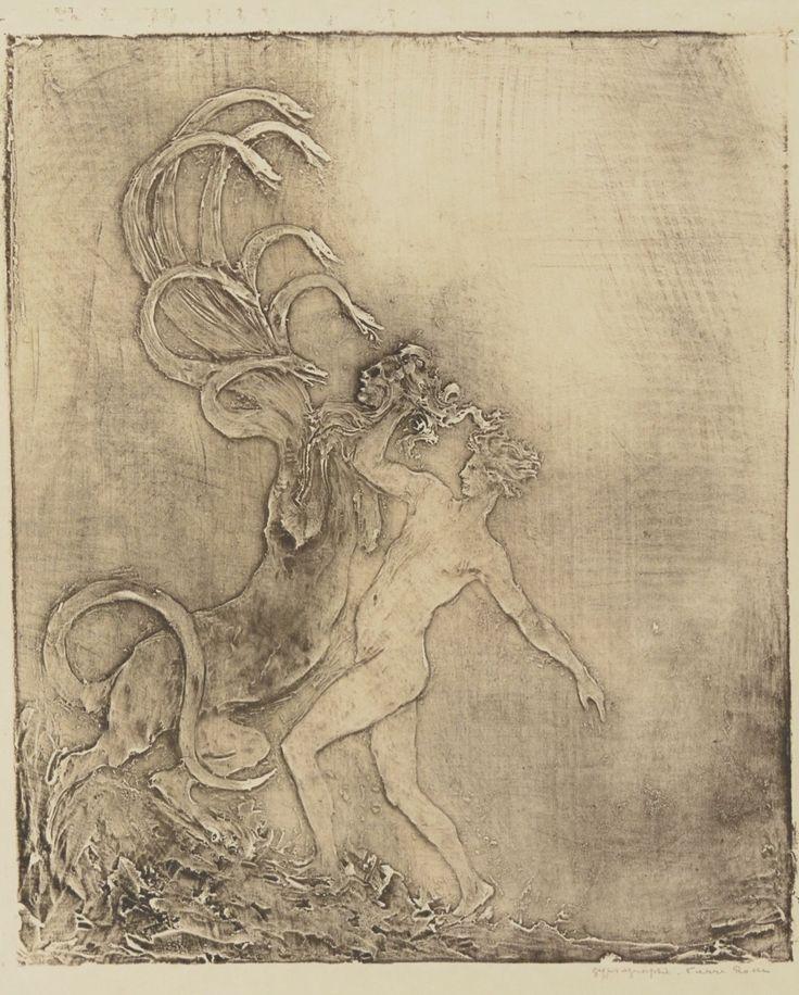 La Méduse. Estampe. Gypsographie.  Art by Pierre Roche.(1855-1922). Graveur.