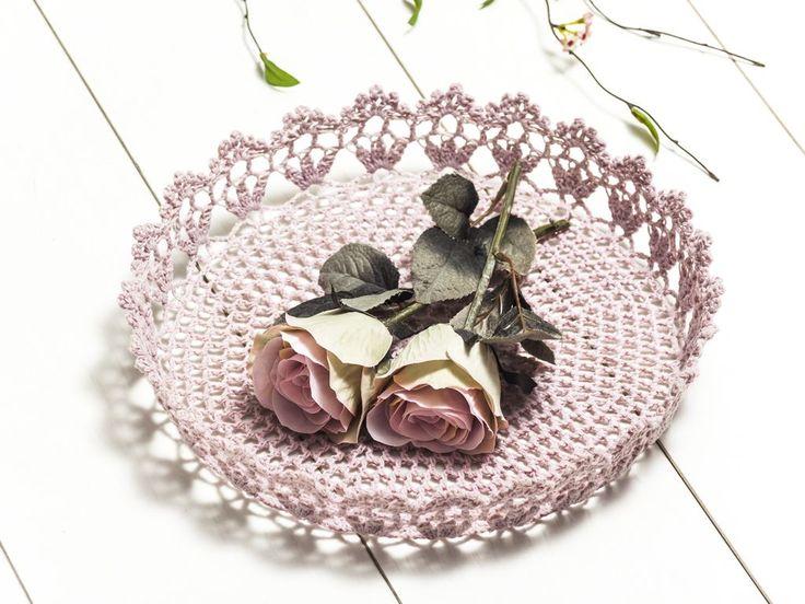 Marıon Crochet Basket Lıght Pınk D.30*h5.5cm