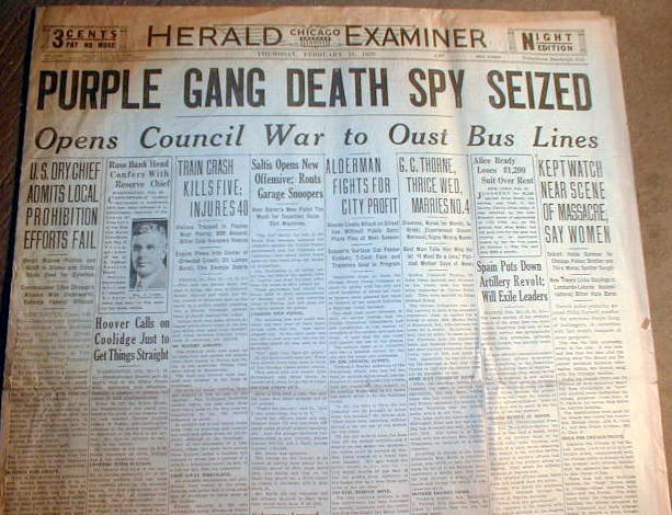 2 1929 Chicago Headlne Newspapers St Valentines Day Massacre Purple