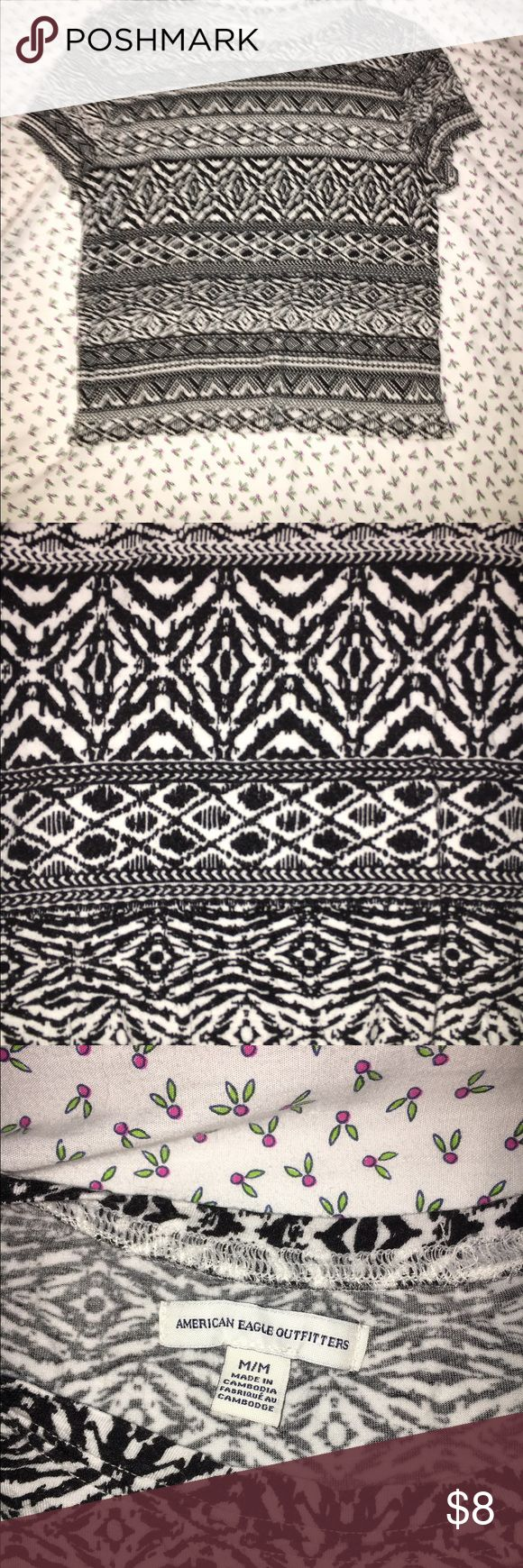 AEO Aztec Crop Top ☠️NO TRADES☠️ This top is a soft fabric with an Aztec-like design. It was purchased at American Eagle Outfitters and fits comfortably. Good condition and not worn out. American Eagle Outfitters Tops Crop Tops