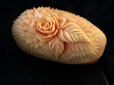 watermelon carving flower -- practice this on a bar of soap.