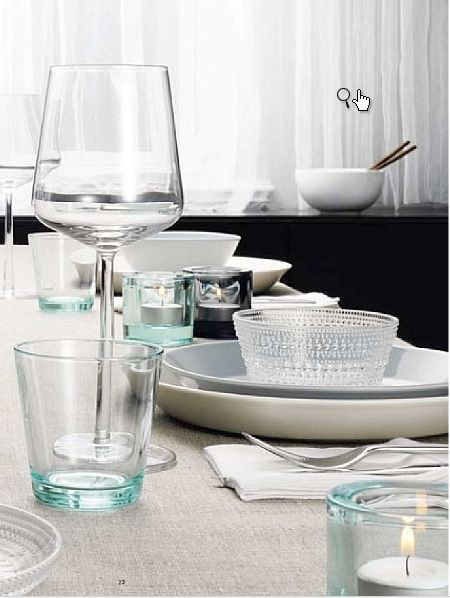 ittala wine glasses, kartio water glasses and kastehelmi and teema plates and bowls. simply beautiful.