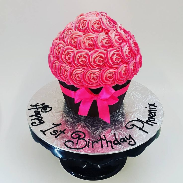 Bright Pink Two Tone Rose Giant Cupcake