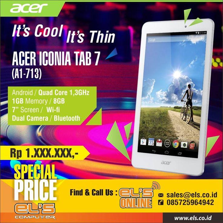 Acer Iconia Tab 7 sekarang tersedia di Els Computer. Bisa order online via els.co.id #els #elscomputer #yogyakarta #solo #purwokerto  info --> www.els.id/ SMS/WA --> 085725964942 BBM PIN --> 56083D42 Email --> sales@els.co.id