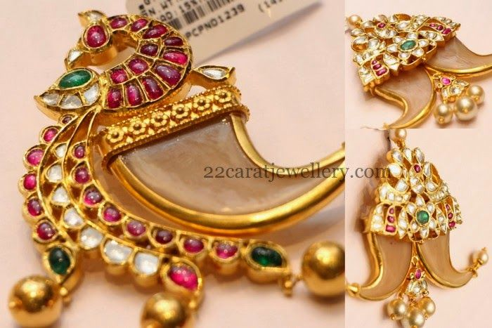 Jewellery Designs: Puligoru Designs with Kundans