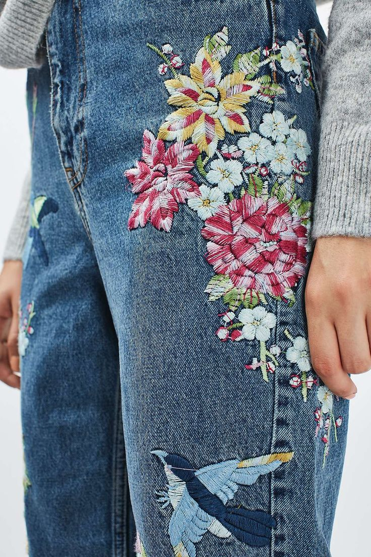 PETITE Garden Embroidered Mom Jean - Jeans - Clothing - Topshop USA
