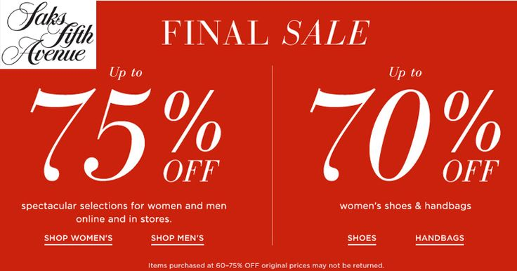 Get Up To 75% Off On Selection for Mens & Womens in Store & Up To 70% Off on Women's #Shoes & #Handbags at #Saksfifthavenue  #Clothing #Shopping
