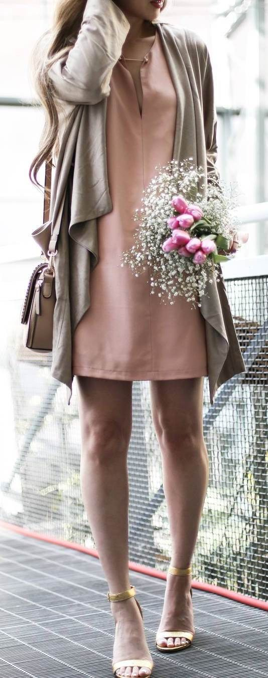 what to wear with a blush dress : nude cardigan   heels   bag