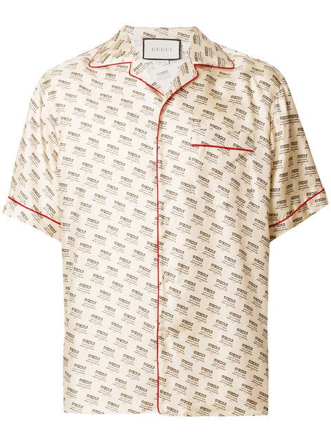 0330e18331e Shop Gucci invite stamp bowling shirt.