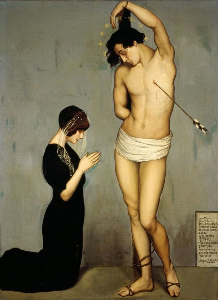 Ángel Zárraga      (Mexican Painter 1886 - 1946)      Votive Offering [Saint Sebastian], 1912      oil on canvas, Height: 1,850 mm (72.83 in). Width: 1,345 mm (52.95 in).      Museo Nacional de Arte, Mexico City, Mexixo: