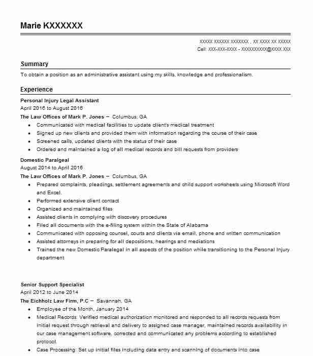 Personal Injury Legal Assistant Resume Sample Livecareer Cv Template Cv Design Template Administrative Assistant Resume