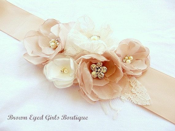 Blush+Champagne+and+Ivory+Lace+Bridal+Sash+by+browneyedgirlsboutiq,+$85.00