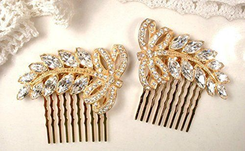 PAIR Art Deco Gold Bridal Hair Combs Made From Original 1920s  1930s era Rhinestone Leaf Dress Clips -- For more information, visit image link.