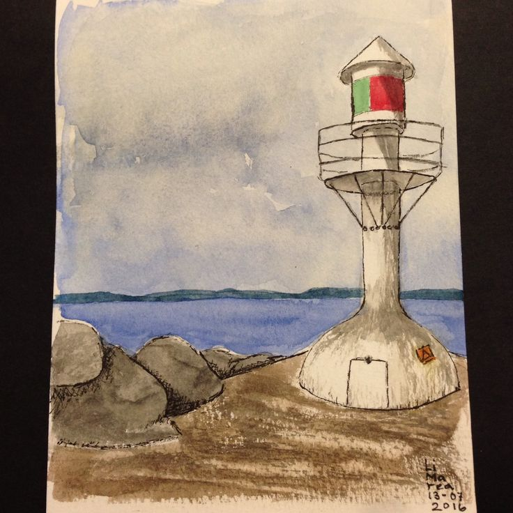 Small lighthouse, ink and watercolour