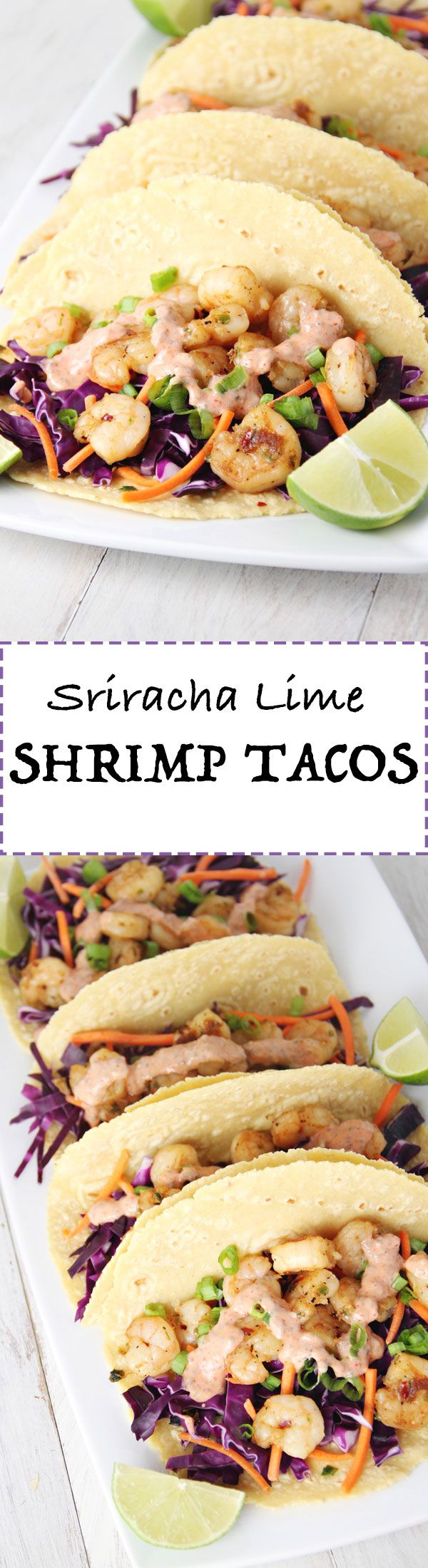 Sriracha Lime Shrimp Tacos by JarOfLemons.com! These are seriously amazing!