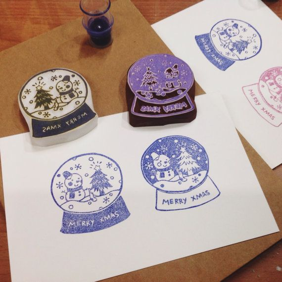Christmas snowglobe rubber stamp by DeerdayShop