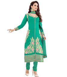 Buy Aqua green mix cotton embroidered semi stitiched salwar with dupatta party-wear-salwar-kameez online