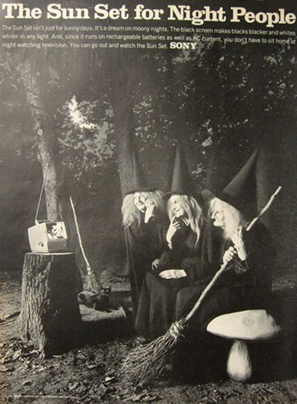1967 sony sun set television ad witches - Halloween Witchcraft