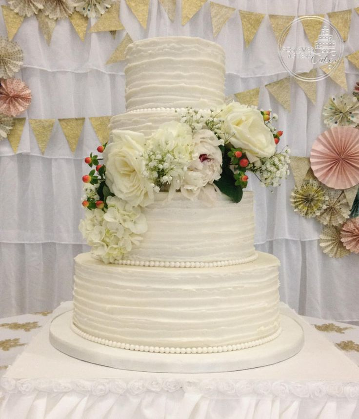 shabby chic bridal shower cakes%0A Forever After Cakes  Round Wedding Cake with Textured ButercreamRuffle and  Floral Spray