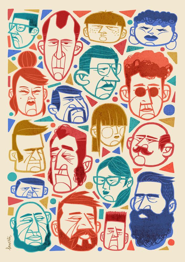 Faces // Illustration by Jorge Lawerta