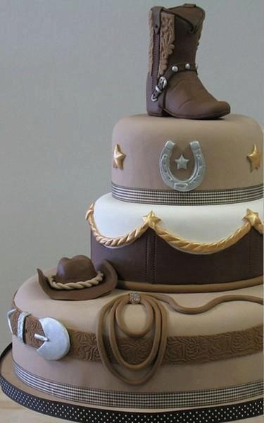 """Country western inspired wedding cake with boot, horseshoe & rope/belt design. Covered in fondant. Perfect for an outdoor wedding or an outdoorsy, """"country"""" couple :)"""