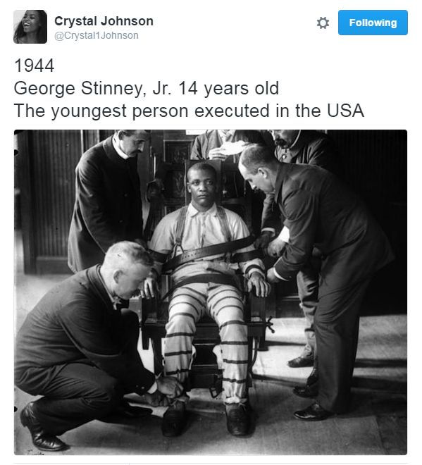 """destinyrush: 1944 """" It took 10 minutes to convict 14-year-old George Stinney Jr. It took 70 years after his execution to exonerate him. """""""