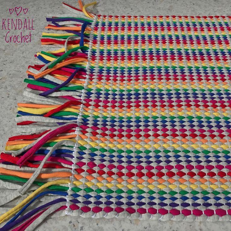 #kendallcrochet #crochet #knitting #crochetrug #lincraftyarn #tshirtyarn #handweaved #weaving #ragrug #rainbow