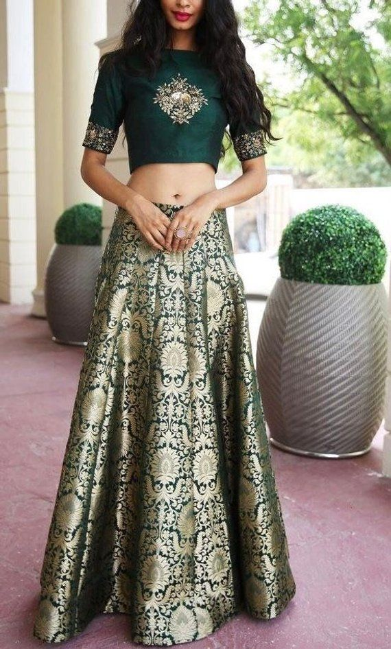 Emerald green/ navy blue/ marron banarsi brocade indian wedding lehenga skirt with embroidered silk choli blouse custom made lengha choli