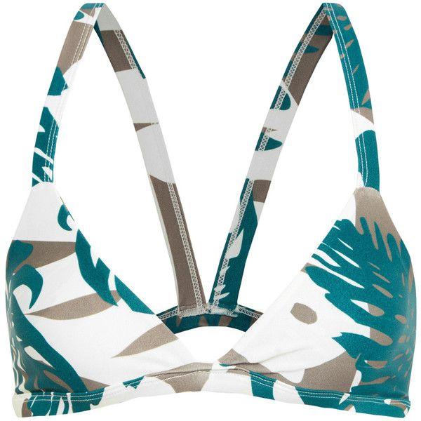 Mikoh Honolulu cutout printed triangle bikini top ($110) ❤ liked on Polyvore featuring swimwear, bikinis, bikini tops, army green, triangle swim wear, swim tops, sporty bikinis, triangle bikini top and racerback bikini