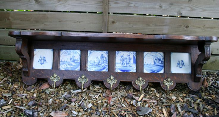 Antique Dutch DELFTS porcelain tiles blue coat rack + copper pan s hanging  picclick.com