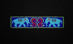 Handloomed Beaded Yoga armband - olifanten - Huichol armband - symbool van wijsheid en kracht - Yoga sieraden - 3e oog Chakra Keelchakra