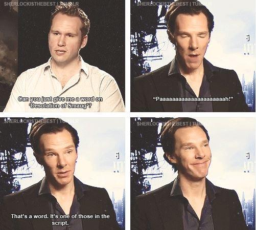 """""""Benedict Cumberbatch, ladies and gentlemen.""""  He's been spending too much time with Steven Moffat."""