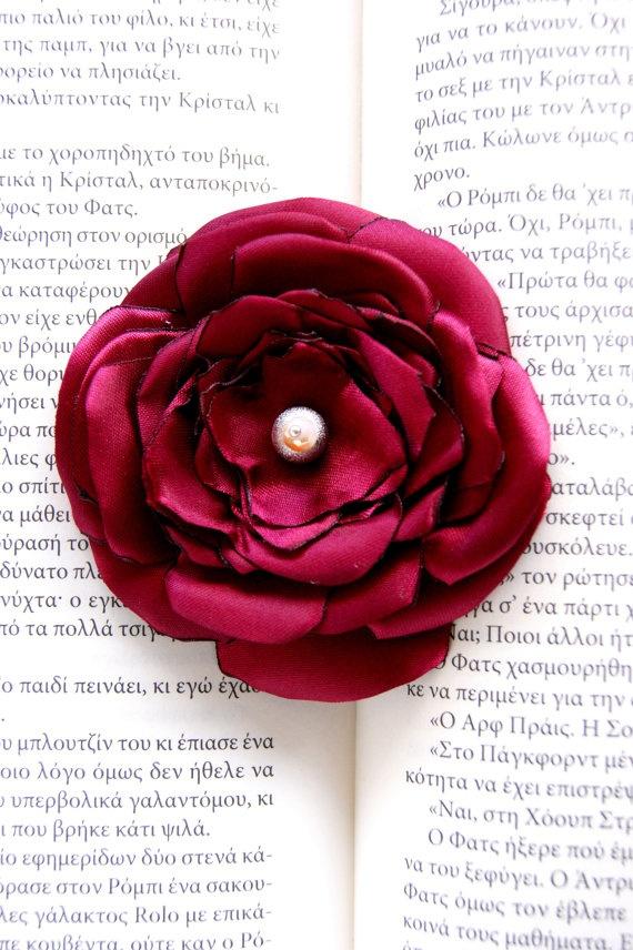 Satin flower Poppy brooch by RenatasArt on Etsy, €8.00