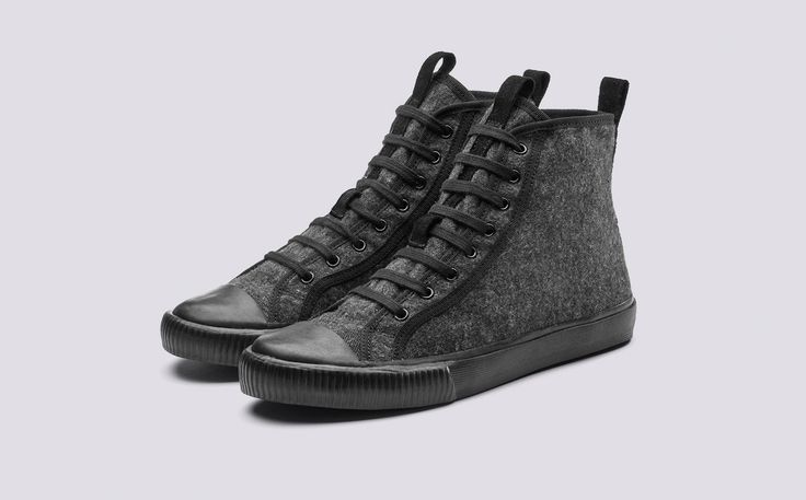 Hi Top | Mens Sneaker in Grey Felt with a Grey Rubber Sole | Grenson Shoes - Three Quarter View